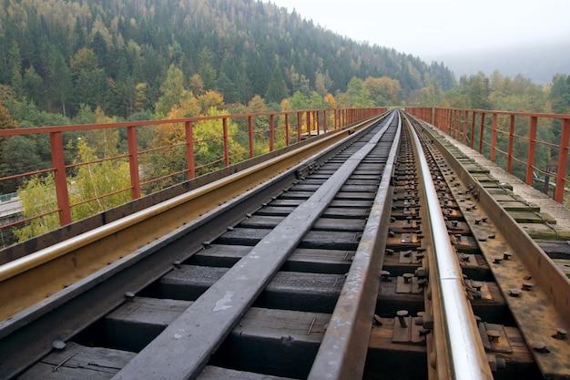 Ferrovia na ponte sobre o rio da montanha