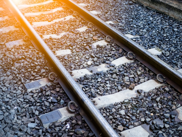 Ferrovia, trilhas, em, treine estação