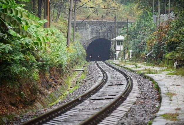 Ferrovia velha e túnel nas montanhas no outono