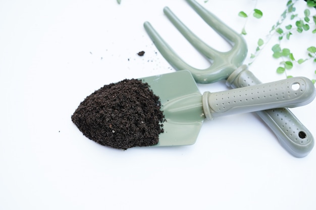 Fertilizante de estrume sem-fim em uma colher verde para plantar árvores
