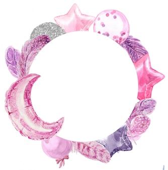 Festa aquarela moldura redonda com balões e penas