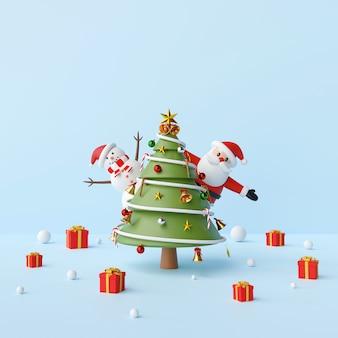 Festa com papai noel, boneco de neve e árvore de natal em um fundo azul, renderização em 3d