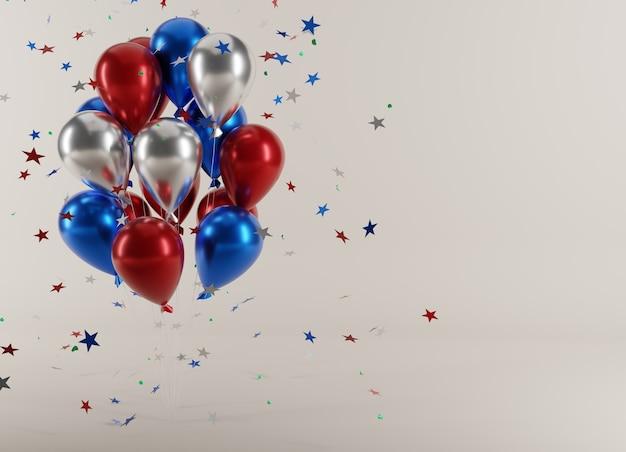 Festa de 4 de julho. balões com estrelas cadentes em ilustração 3d
