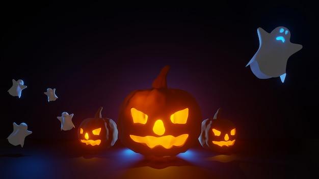 Festa de halloween com abóboras e fantasma assustador no fundo do conceito de noite