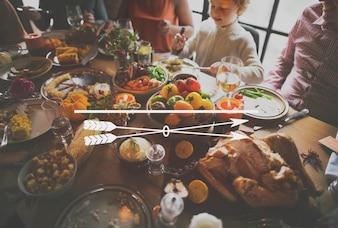 Festa de jantar de família de ícone de ação de Graças