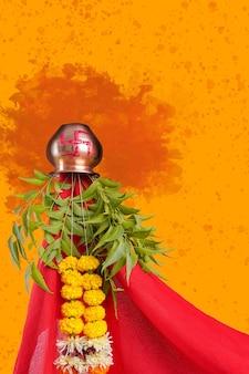 Festival tradicional de ano novo de gudhi padva para os hindus marathi.