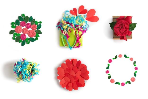 Festivo conjunto de elementos flores corações embalagem presente buquê de confete branco isolado fundo