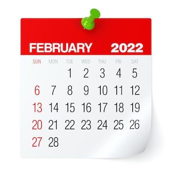 Fevereiro de 2022 - calendário. isolado no fundo branco. ilustração 3d