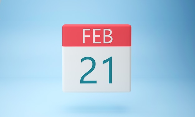 Fevereiro em uma página de calendário em branco d render
