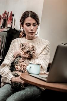 Ficar concentrado. jovem concentrada com o cachorro olhando para a tela do laptop