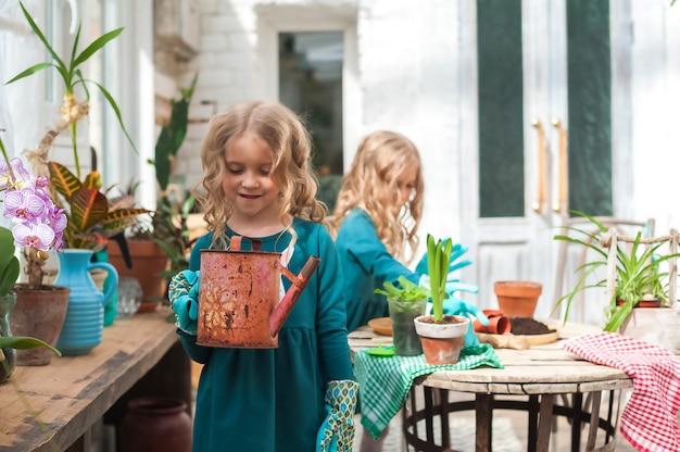 Ficar em casa. jardinagem em casa na estufa.