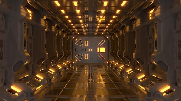 Ficção científica do fundo de ciência que rende corredores interiores da nave espacial da ficção científica luz amarela.
