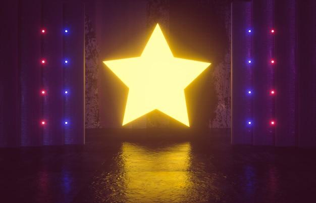 Ficção científica futurista palco vazio. quarto reflexivo de concreto com estrela amarela brilhante cor neon. 3d rendem.