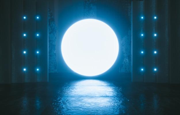 Ficção científica futurista palco vazio. sala de concreto reflexiva com brilhante círculo cor azul neon. 3d rendem.