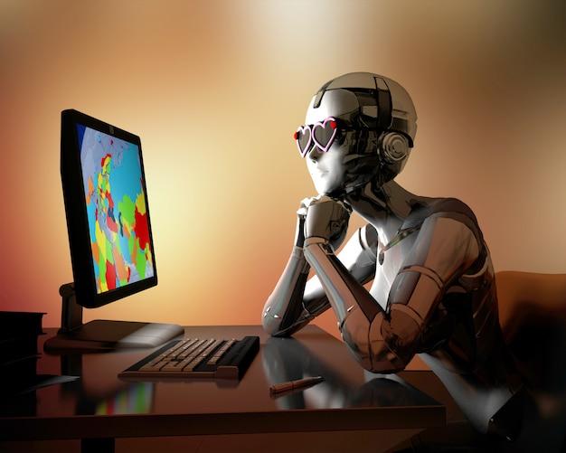 Ficção científica humana com computador