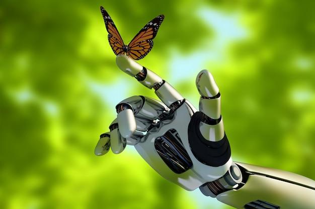 Ficção científica incrível mão com borboleta