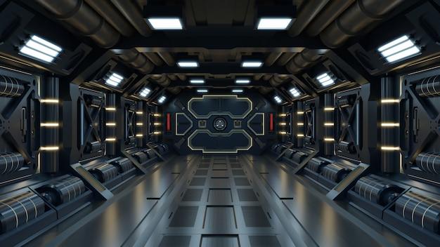 Ficção científica interior quarto sci-fi nave espacial corredores amarelos