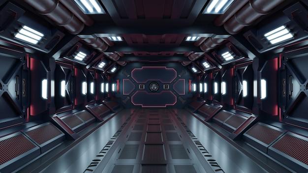 Ficção científica interior que rende a nave espacial da ficção científica corredores luz vermelha.
