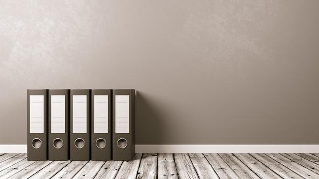 Fichários em piso de madeira, conceito de arquivos