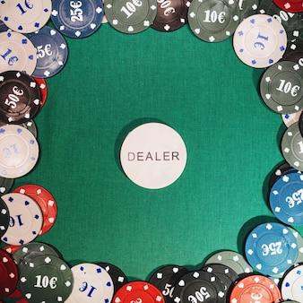 Fichas de apostas, jogos de pôquer e jogos de azar