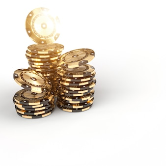 Fichas de casino de ouro preto com inserções de diamante