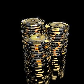 Fichas de casino vip douradas