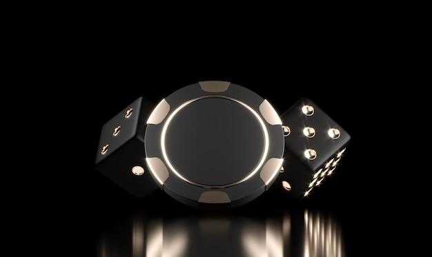 Fichas de cassino em preto. fundo de cassino online. conceito de jogo, ícone do aplicativo móvel de pôquer.