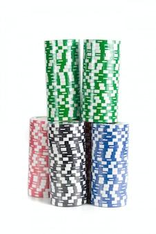 Fichas de poker no espaço em branco