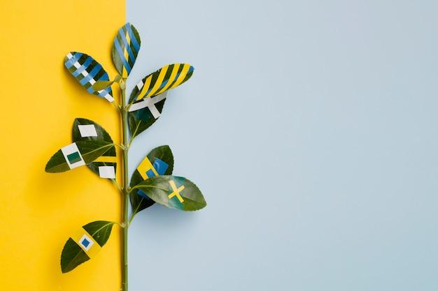 Ficus pintado com fundo de espaço de cópia