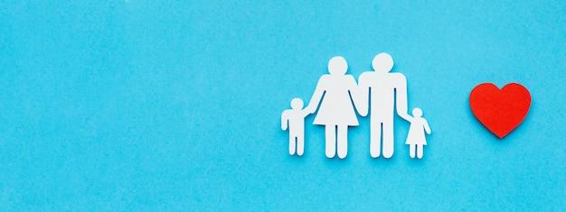 Figura da família vista superior com o conceito de espaço de cópia