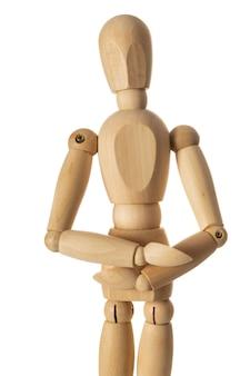 Figura de madeira suporte isolado no fundo branco