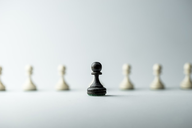 Figura do xadrez, estratégia de negócios, liderança, equipe e sucesso