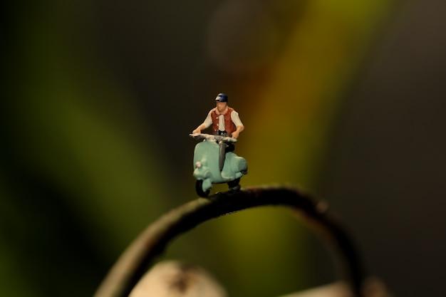 Figura em miniatura andar de moto no galho