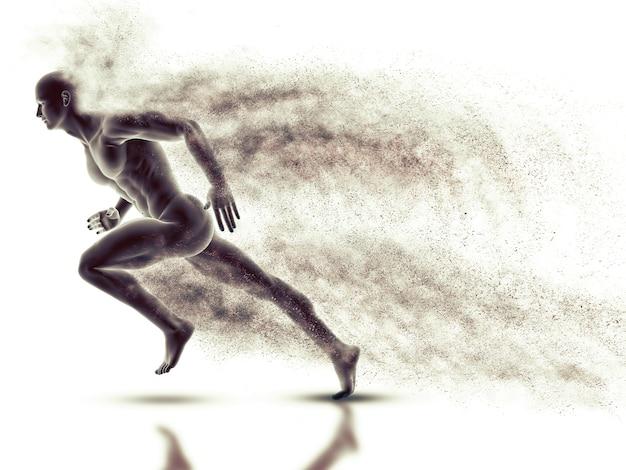 Figura macho 3d com sprint com efeito de velocidade
