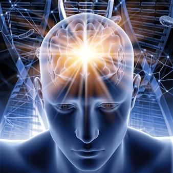 Figura masculina 3d com o cérebro destacado