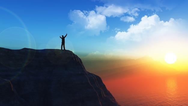 Figura masculina em 3d no alto de um penhasco com os braços erguidos no sucesso
