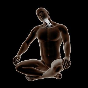 Figura médica masculina 3d com os ossos do pescoço destacados