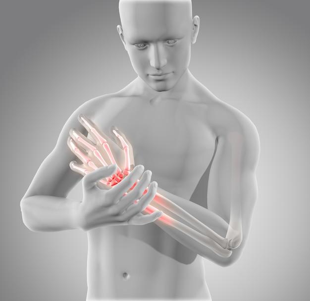 Figura médica masculina 3d segurando o pulso com dor e ossos brilhantes
