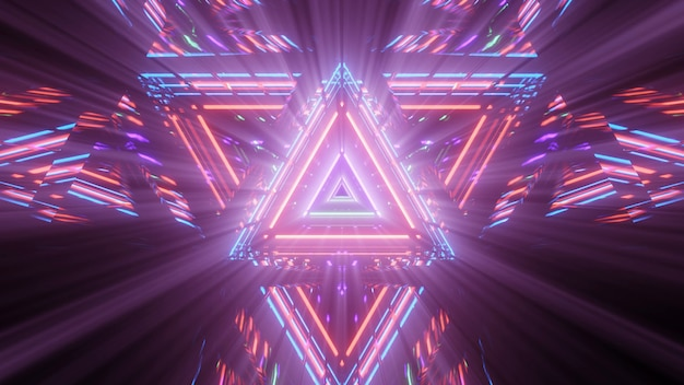 Figura triangular geométrica em luz de laser neon