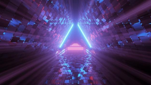 Figura triangular geométrica legal em uma luz de laser neon - ótima para fundos e papéis de parede