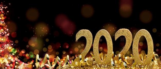 Figuras de ano novo de 2020 em fita e glitter na noite abstrata em tamanho panorâmico