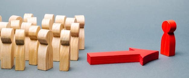 Figuras de madeira de pessoas.