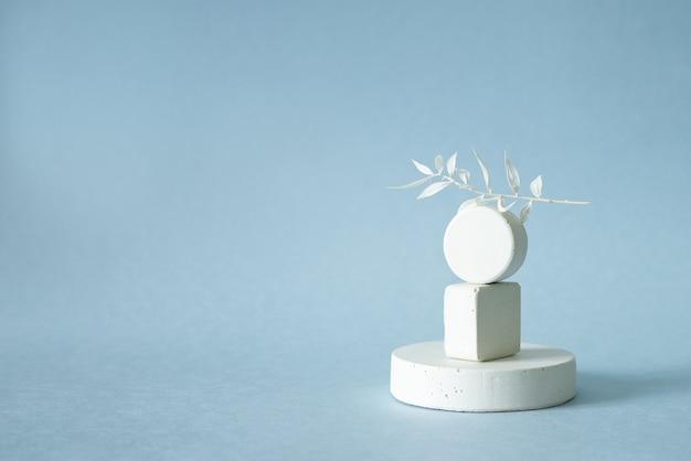 Figuras geométricas brancas com folhas secas brancas