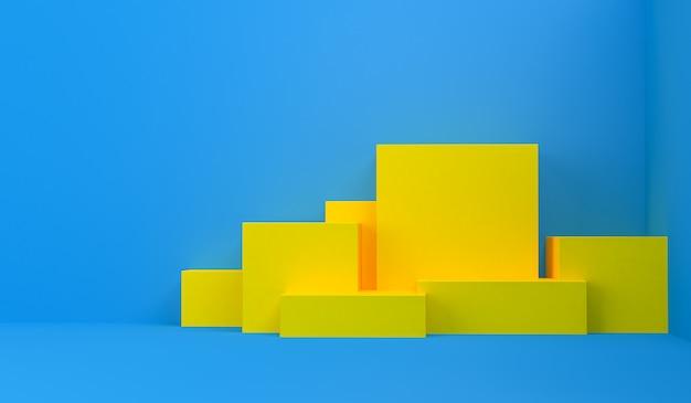 Figuras geométricas primitivas, 3d rendem, pódio para os bens advertidos
