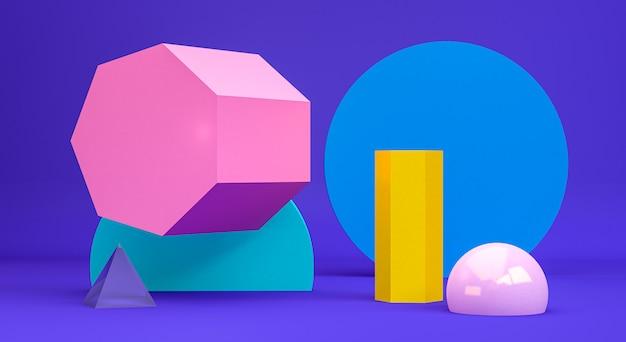 Figuras geométricas primitivas abstratas minimalistas, cores pastel, render 3d