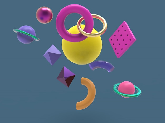 Figuras geométricas primitivas caindo abstrato abstrato minimalista, 3d illustraton