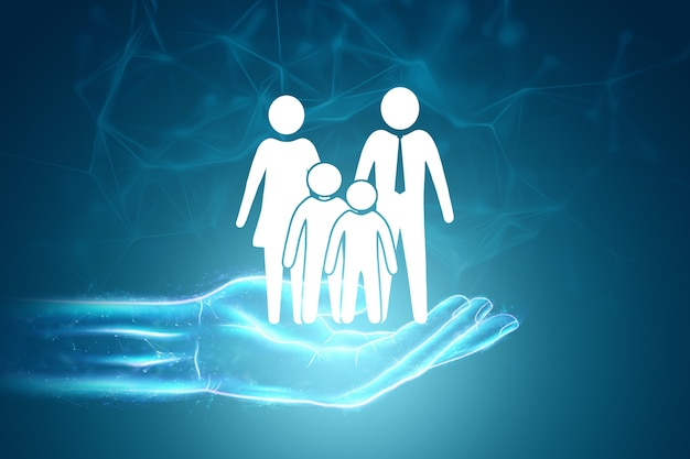 Figuras planas de uma família em uma mão humana em um fundo azul .. conceito de proteção da família
