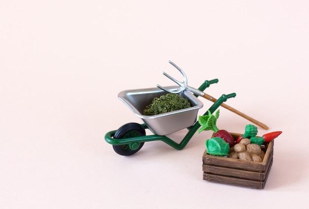 Figuras realistas de ferramentas de fazenda ou jardim com caixa de legumes