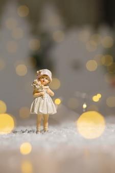 Figurinhas temáticas de natal decorativas, garota de estatueta,
