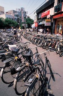 Fila, de, bicicletas, beijing, china